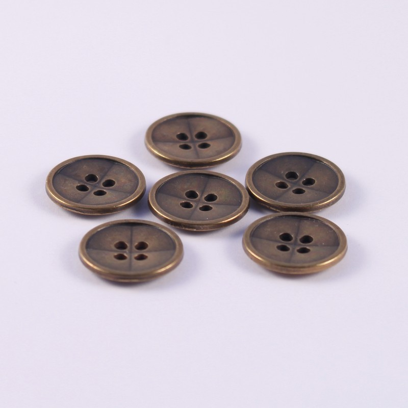 Lot de 6 boutons Métal Billy 12 mm