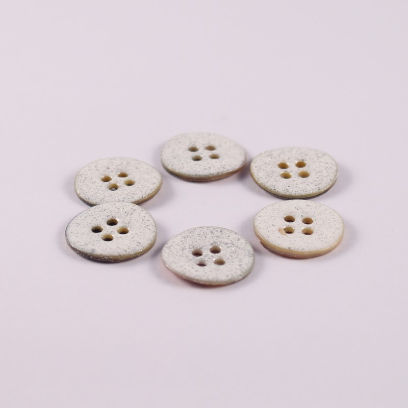 Lot of 6 Mother of Pearl Glitter Buttons Bonnie