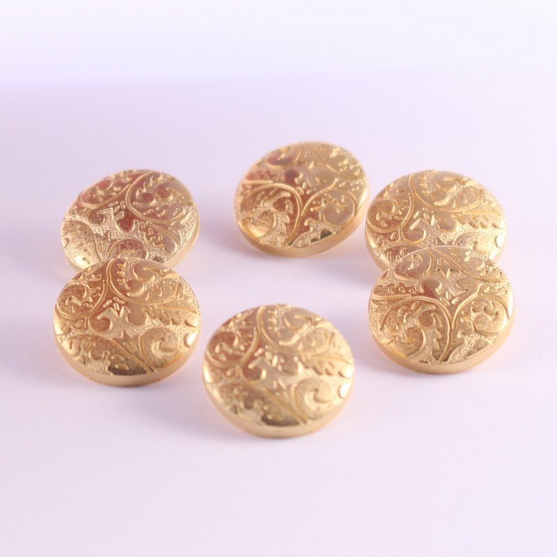 Set of 6 ABS Metal Buttons Daisy