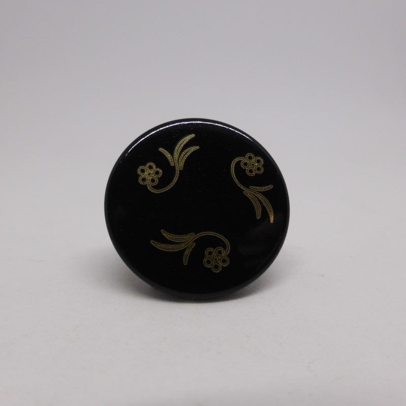 Black metal button engraved 18 and 22mm Gelly