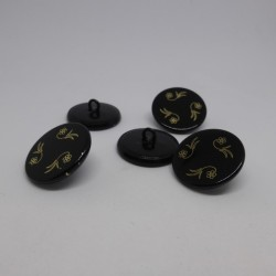 Bouton métal noir gravé 18et 22mm Gelly