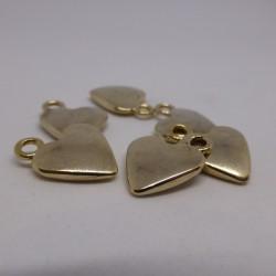 Bouton metal doré forme de coeur Genèva