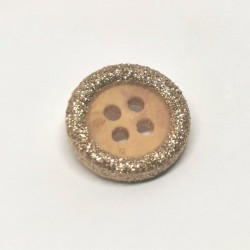 Wooden button with gold glitter