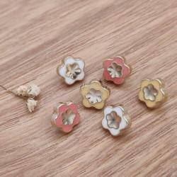 Bouton metal forme fleurs colores