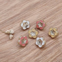 Button metal form colored flowers